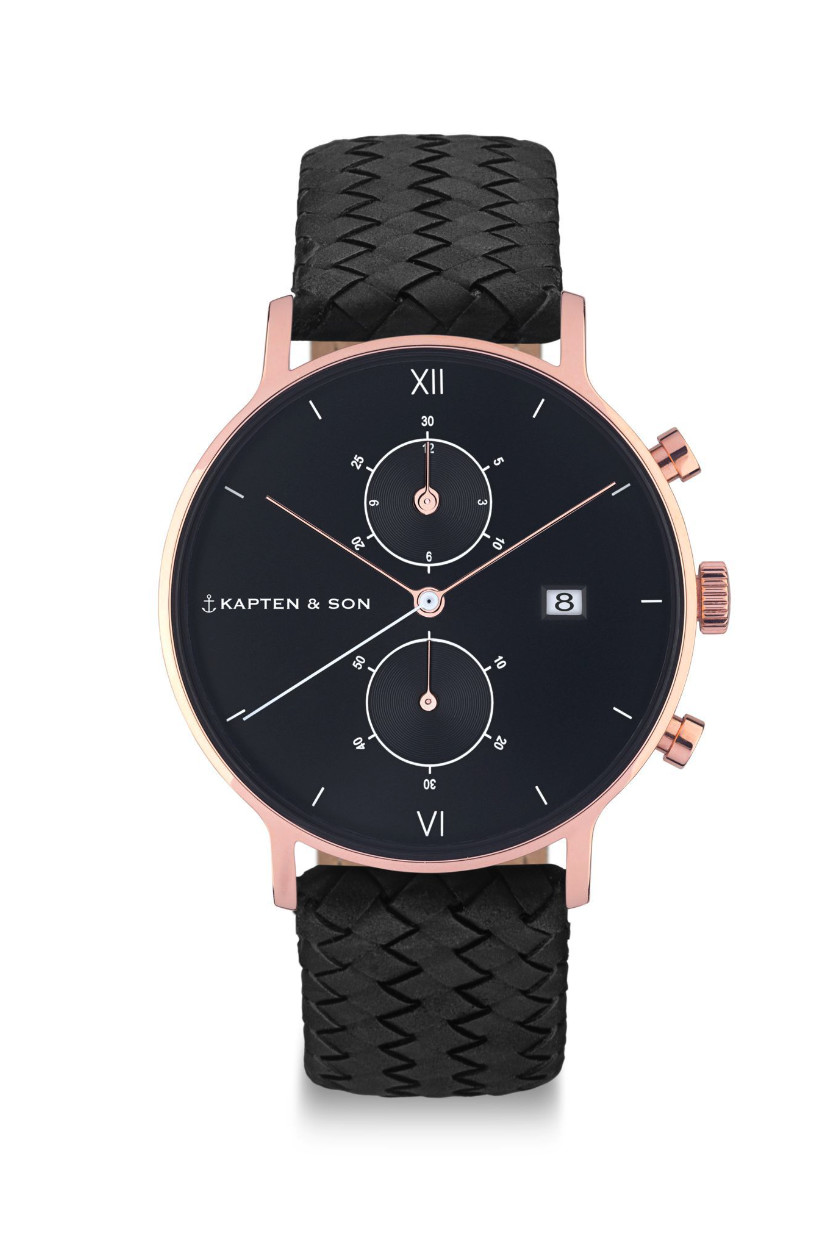 kapten son chrono all black woven rosegold black watch p2 mode accessoires. Black Bedroom Furniture Sets. Home Design Ideas